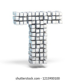 White voxel cubes font Letter T 3D render illustration isolated on white background