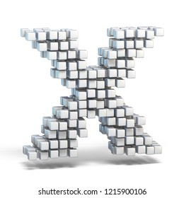 White voxel cubes font Letter X 3D render illustration isolated on white background