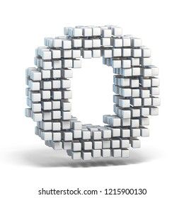White voxel cubes font Letter O 3D render illustration isolated on white background