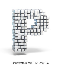 White voxel cubes font Letter P 3D render illustration isolated on white background