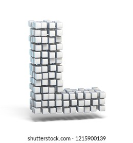 White voxel cubes font Letter L 3D render illustration isolated on white background
