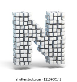 White voxel cubes font Letter N 3D render illustration isolated on white background