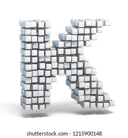 White voxel cubes font Letter K 3D render illustration isolated on white background
