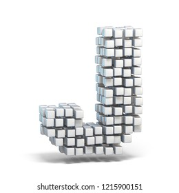 White voxel cubes font Letter J 3D render illustration isolated on white background