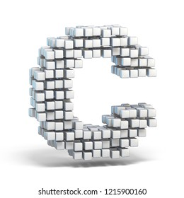 White voxel cubes font Letter C 3D render illustration isolated on white background