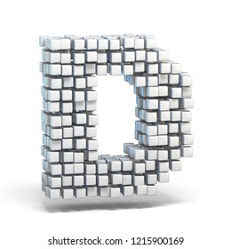 White voxel cubes font Letter D 3D render illustration isolated on white background