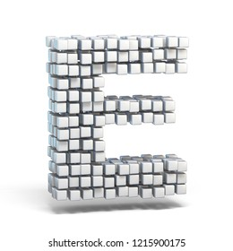 White voxel cubes font Letter E 3D render illustration isolated on white background