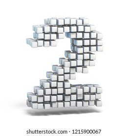 White voxel cubes font Number 2 TWO 3D render illustration isolated on white background