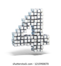 White voxel cubes font Number 4 FOUR 3D render illustration isolated on white background