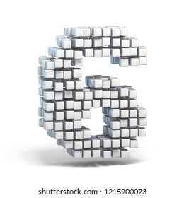 White voxel cubes font Number 6 SIX 3D render illustration isolated on white background