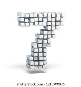 White voxel cubes font Number 7 SEVEN 3D render illustration isolated on white background