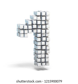 White voxel cubes font Number 1 ONE 3D render illustration isolated on white background