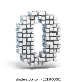White voxel cubes font Number 0 ZERO 3D render illustration isolated on white background