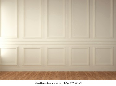 White Wainscot Wall Blank Room, 3D Render