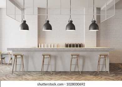 White wall bar interior with a wooden floor, a stone bar and wooden stools near it. 3d rendering mock up