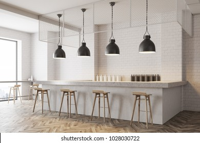 White wall bar with a wooden floor, a stone bar and wooden stools near it. Tables with chairs in the background. A side view. 3d rendering mock up