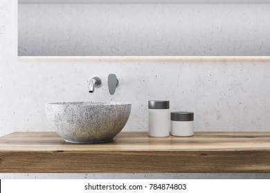 White wall bathroom interior close up with a long wooden shelf with a gray round sink on it and a horizontal mirror. 3d rendering mock up