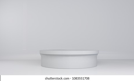 white wall blank cylinder floor 3d rendering