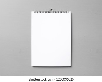 White wall calendar front view. 3D rendering