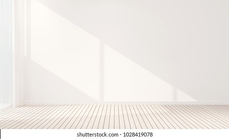 White wall decorate in empty room design of business room for rent or other room - Interior simple design - 3D Illustration