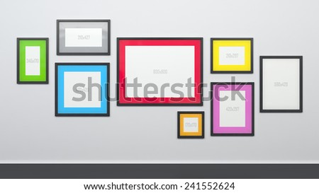 White Wall Different Size Graphic Picture Stock Illustration