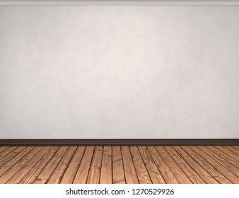 White wall with empty floor. White empty vintage room interior with wood brown planks