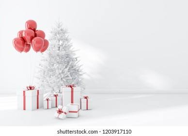 White wall empty room interior with white floor and decorated Christmas tree. Gifts and balloons. Holiday season concept. 3d rendering copy space