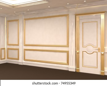 White wall with golden frame at gallery. Museum. Luxurious interior. Empty space. Construction of the wall and ceiling
