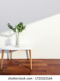 White wall interior with wood table and indoor plant, 3D Rendering
