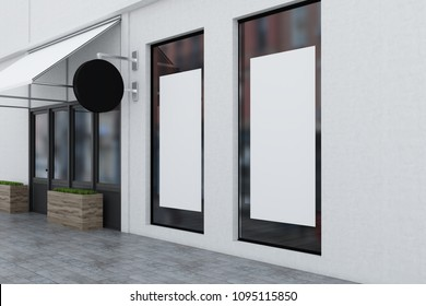 White wall modern restaurant with posters in the windows and a blank round signpost near the door. 3d rendering mock up