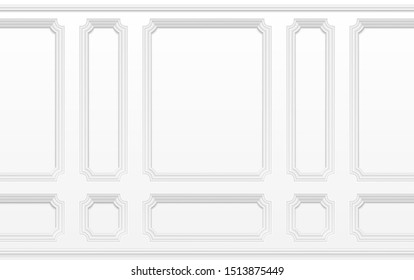 White wall with moulding frames. Classic interior with moulding panels. Seamless background