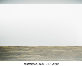 White wall in museum interior with wooden floor. 3d render