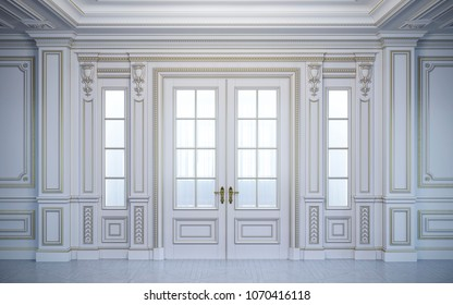 White wall panels in classical style with gilding and door. 3d rendering