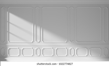 White wall with sunlight from window and decorative classic style molding, room interior background, 3d illustration