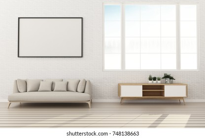 White wall and wood floor in bed room.Comfort space with background. -3d rendering