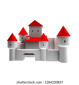 White walled castle over white background, 3d rendering