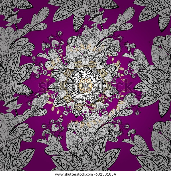 White Wallpaper on texture background. White element on magenta background. Damask seamless repeating background. White floral ornament in baroque style.