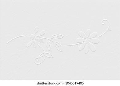 White wallpaper, ornamental flower garland, background