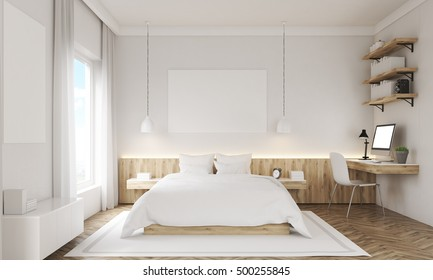 White walls bedroom interior with study corner, large window, two posters and a king side bed. Concept of rest. Mockup. 3d rendering