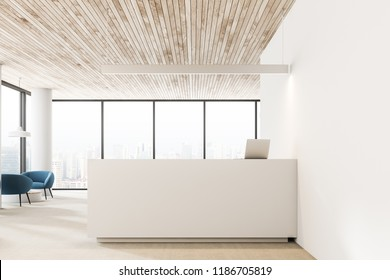 White walls and columns office reception hall interior with wooden ceiling, white reception desk with a laptop and blue armchairs near round coffee tables. 3d rendering copy space