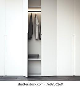 White wardrobe with an open door. 3d rendering