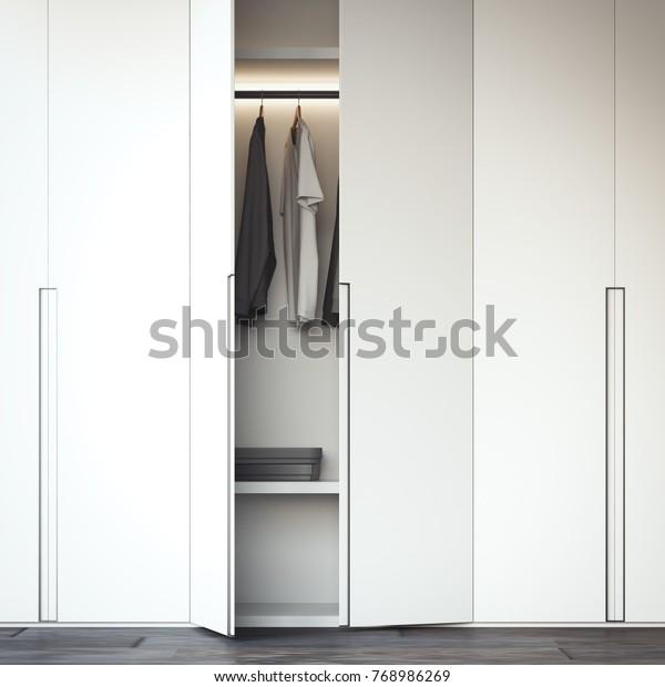 Weißer Schrank mit offener Tür. 3D-Rendering