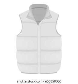 White warm vest mockup. Realistic illustration of white warm vest  mockup for web