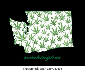 A white Washington state with hand-painted watercolor cannabis leaves.
