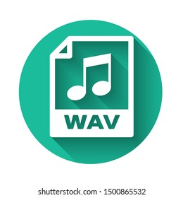White WAV file document icon. Download wav button icon isolated with long shadow. WAV waveform audio file format for digital audio riff files. Green circle button