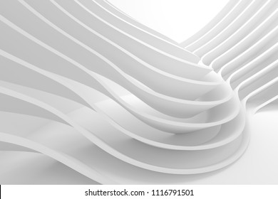 White Wave Background. Abstract Minimal Exterior Design. Creative Architecture Concept. 3d Rendering