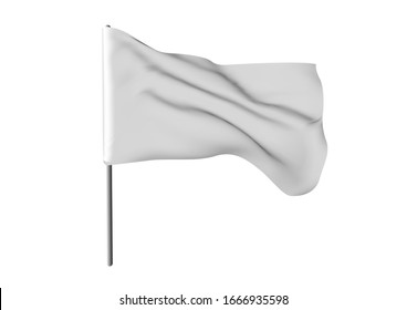 White waving flag template. Clean horizontal canvas, for your design. Empty blank of flag on flagpole. 3d mockup.