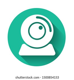 White Web camera icon isolated with long shadow. Chat camera. Webcam icon. Green circle button