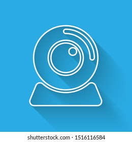 White Web camera icon isolated with long shadow. Chat camera. Webcam icon