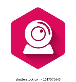 White Web camera icon isolated with long shadow. Chat camera. Webcam icon. Pink hexagon button